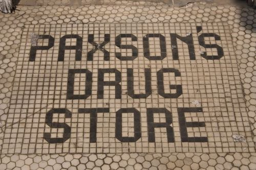 abbeville ga paxsons drug store tile entryway photograph copyright brian brown vanishing south georgia usa 2016